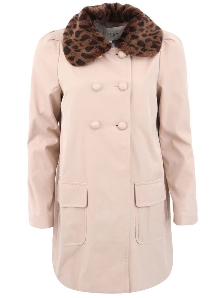 Béžový kabát s kožušinovým odopínacím golierom Kling Frank