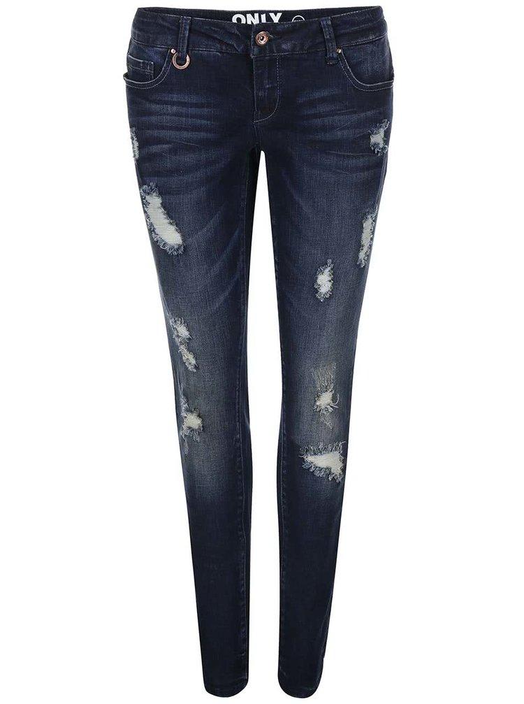 Tmavě modré džíny s roztrhaným efektem ONLY Coral