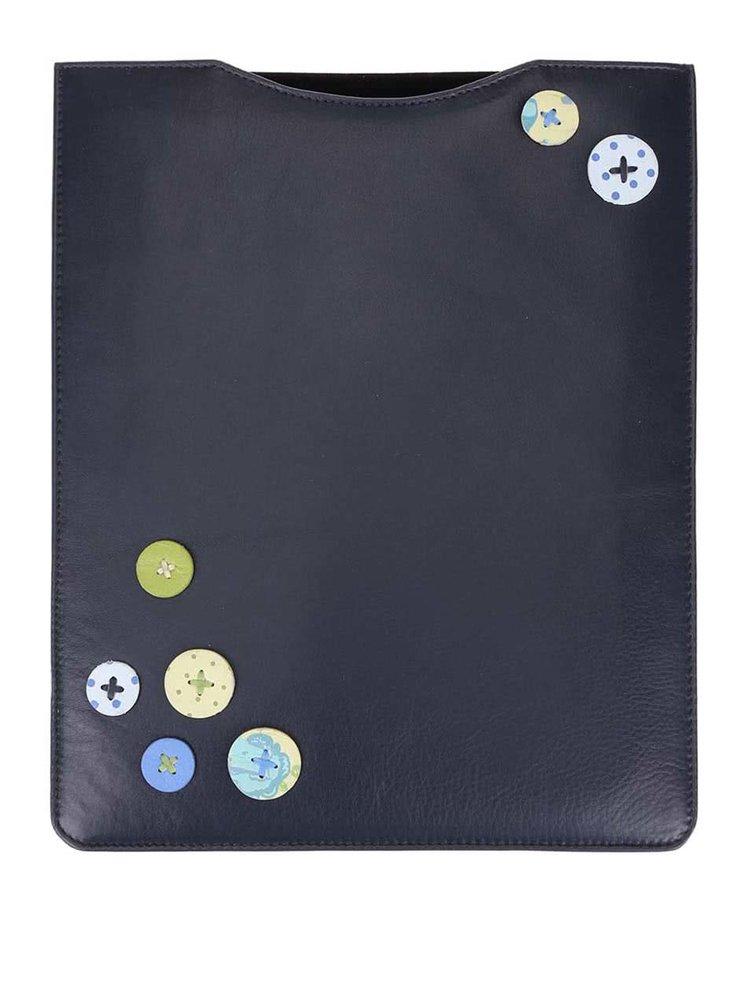 Modrý kožený obal na iPad s gombíkmi 1642