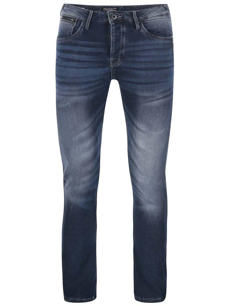 Modré džíny s vyšisovaným efektem Jack & Jones Nick