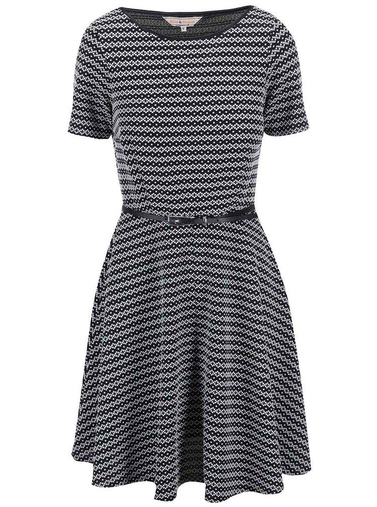 Bielo-čierne vzorované šaty s opaskom Dorothy Perkins