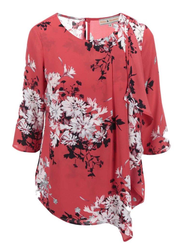 Červená halenka s černo-bílým květinovým vzorem Dorothy Perkins