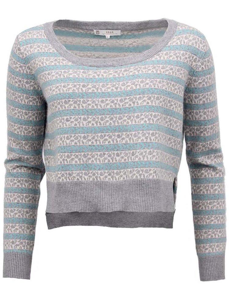 Pruhovaný sveter YAYA v sivo-tyrkysovej farbe