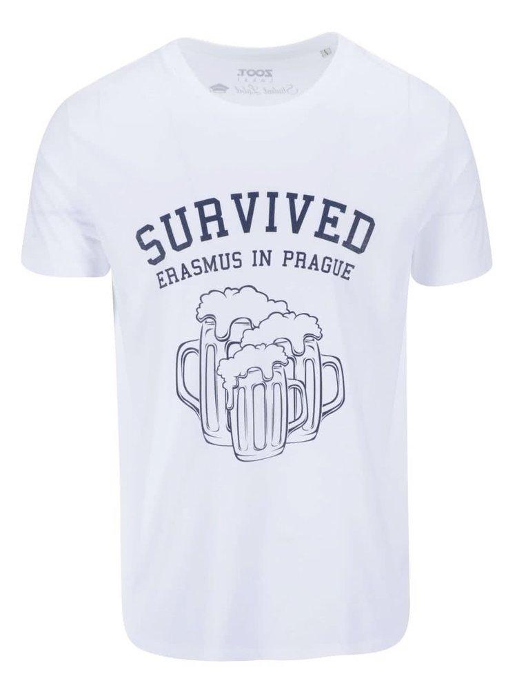 Bílé pánské triko ZOOT Lokál Survived Erasmus in Prague