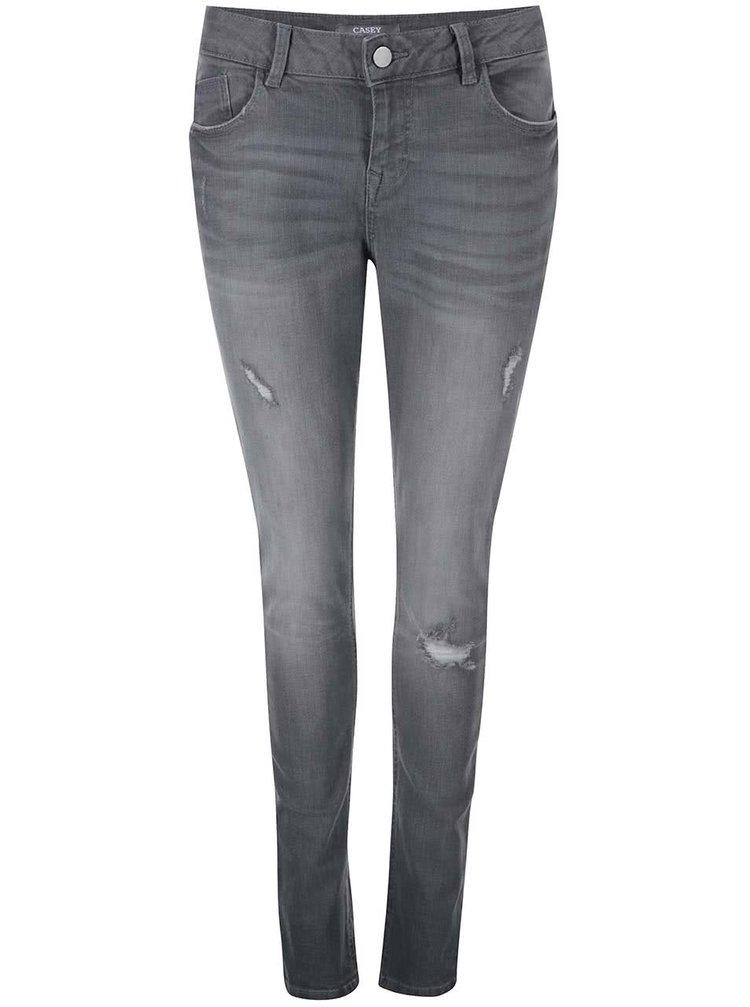 Šedé skinny džíny s otrhanými detaily Dorothy Perkins