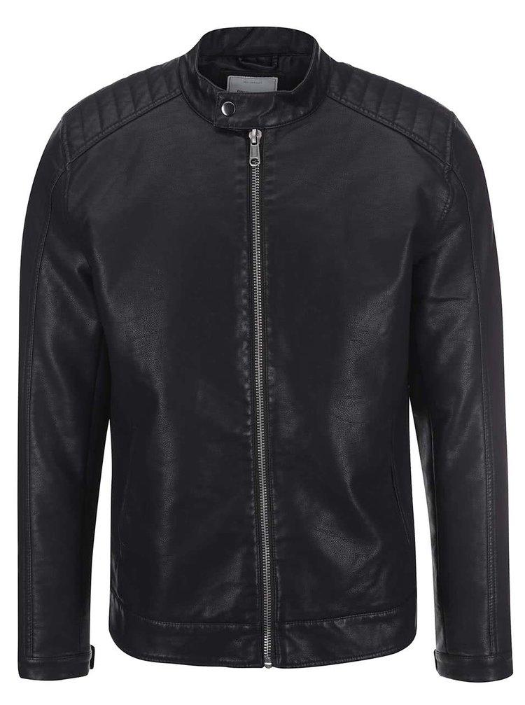Jachetă neagră din piele artificială ONLY & SONS James