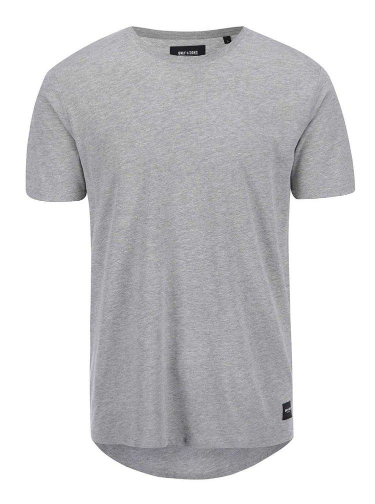 Tricou gri deschis ONLY & SONS Curved din bumbac