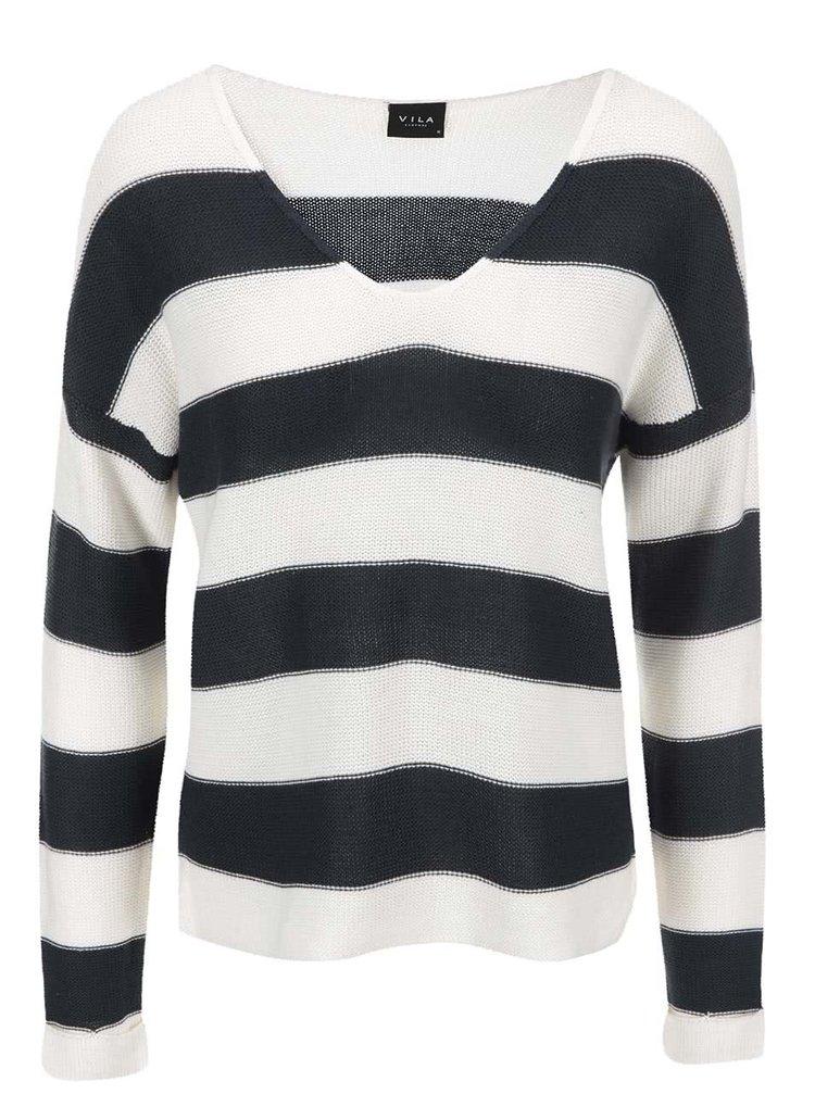 Tmavomodrý pruhovaný sveter VILA Snip