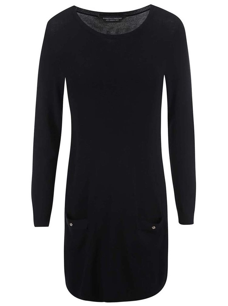 7cef5bf6e5c2 ... Čierne pletené šaty s vreckami Dorothy Perkins