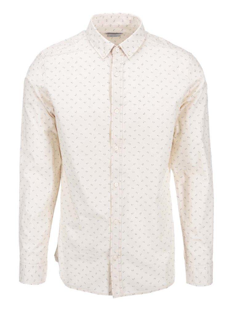 Krémová košeľa so vzorom vtáčích stôp Jack & Jones Bird