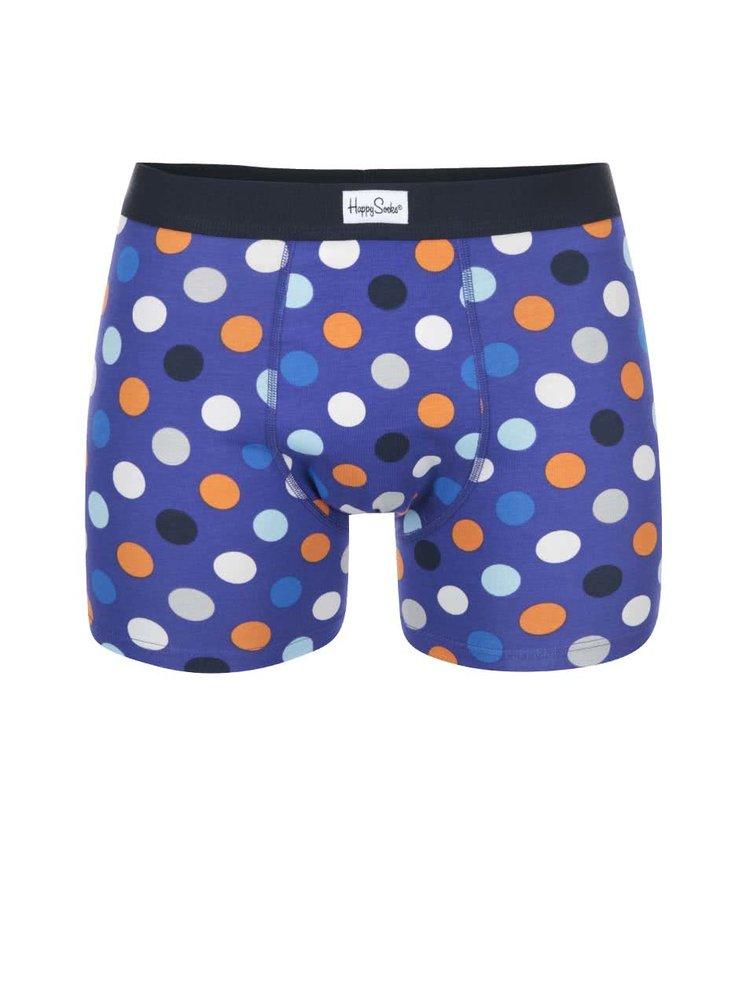 Modré boxerky s barevnými puntíky  Happy Socks Big Dot