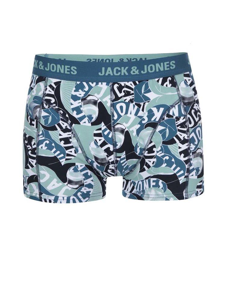 Boxeri albastri cu imprimeu verde Jack & Jones Brooklyn