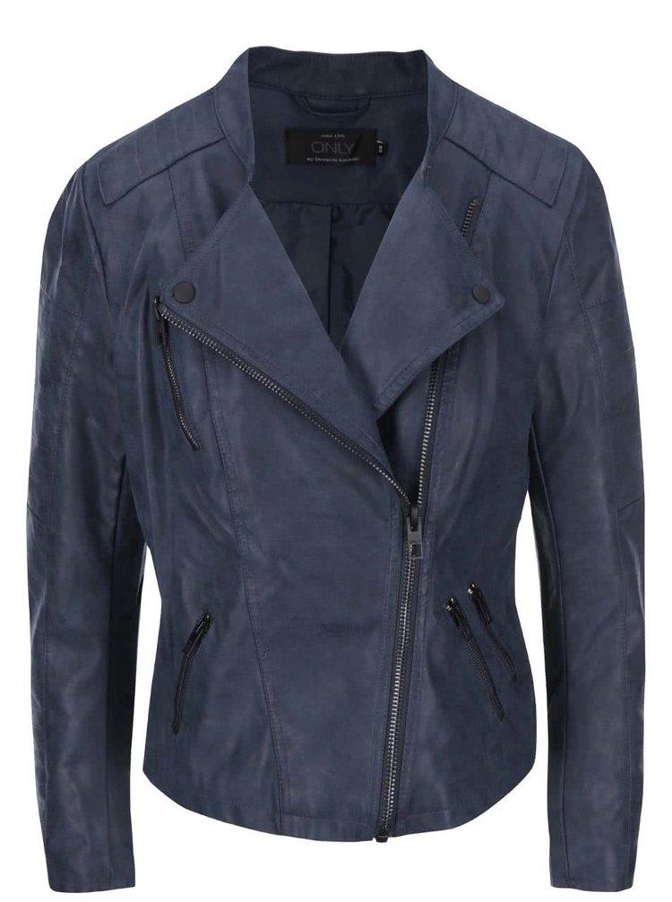 Modrá kratší koženková bunda ONLY Biker