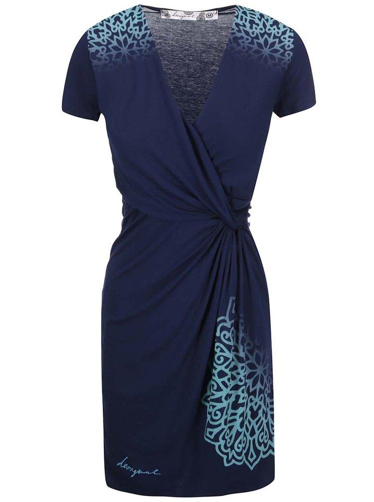 Modré šaty s krátkym rukávom Desigual Conny