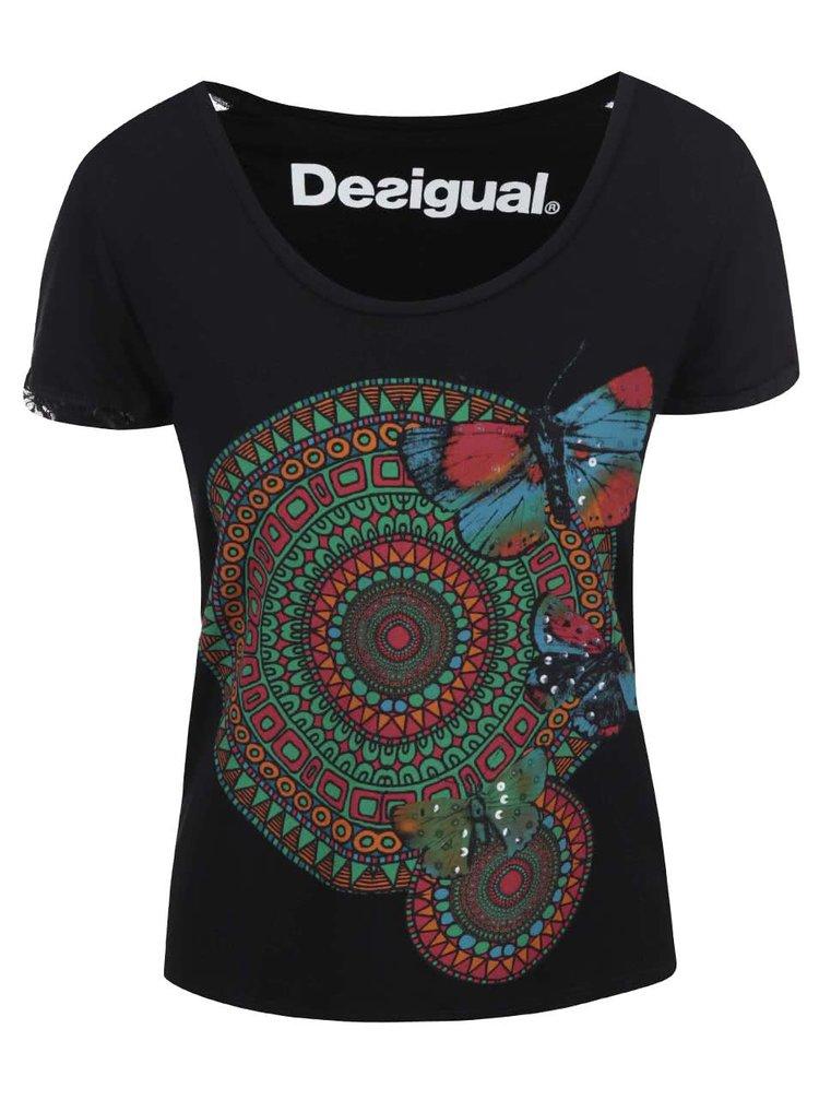 Černé tričko s barevným potiskem Desigual Amy