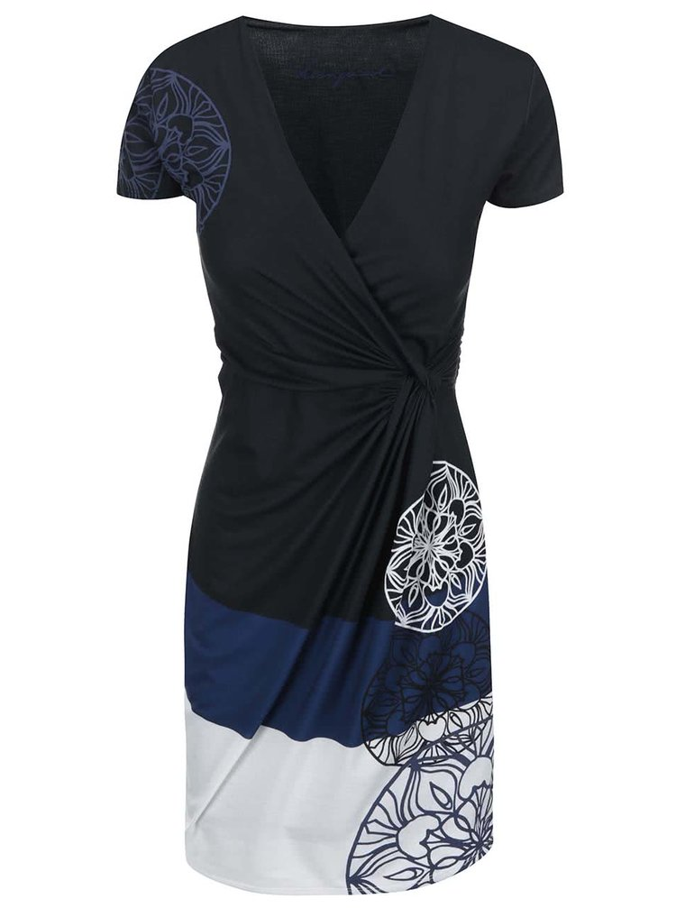 Rochie neagră, albastră și albă Desigual Karlie