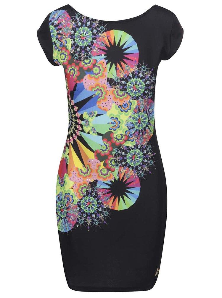 Černé šaty s pestrobarevným potiskem Desigual Bernadett