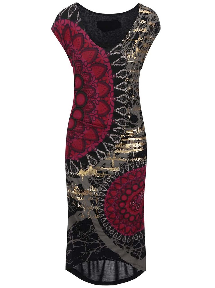 Desigual Jeremías Black and Red Patterned Dress