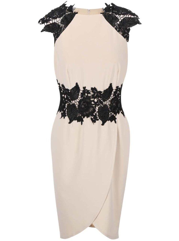 Krémové puzdrové šaty s čiernymi čipkovanými detailmi Little Mistress