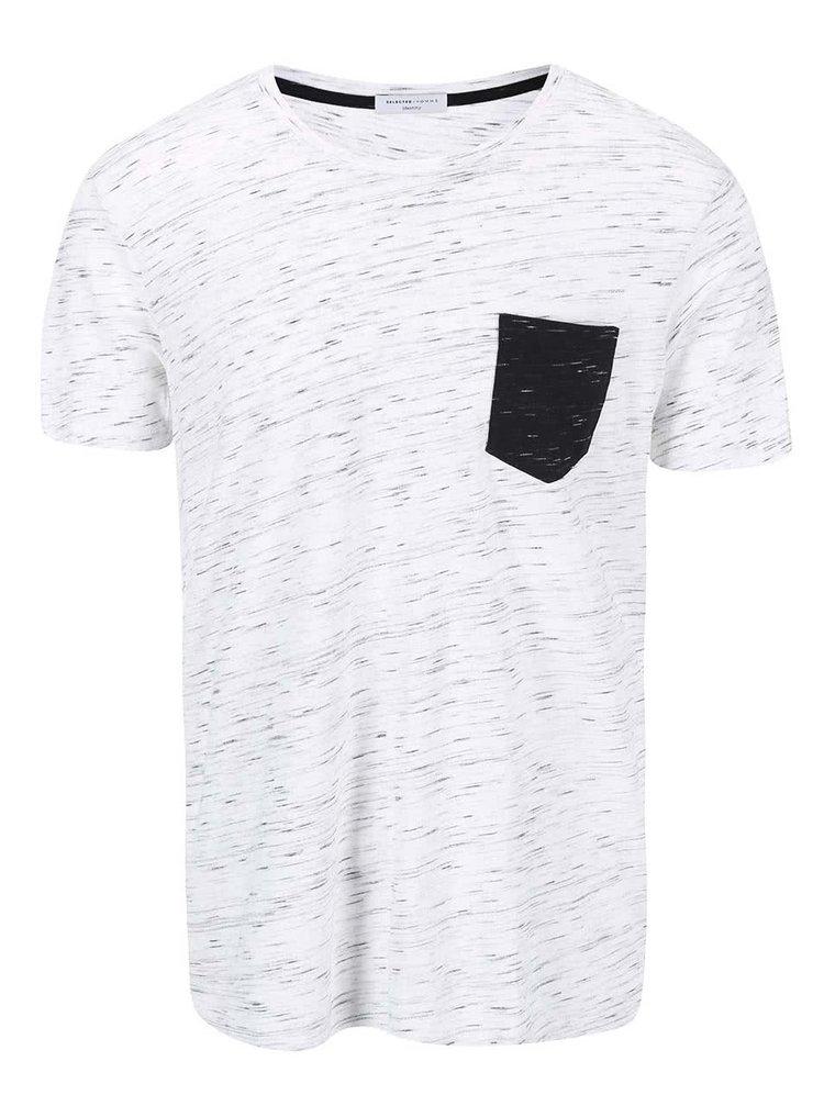 Světle šedé žíhané triko s náprsní kapsou Selected Homme Indi