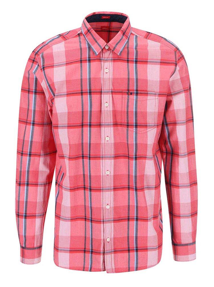 Růžová pánská károvaná regular fit košile s.Oliver