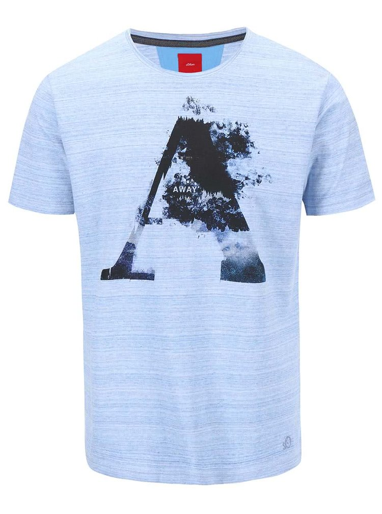 Černo-modré pánské triko s potiskem s.Oliver