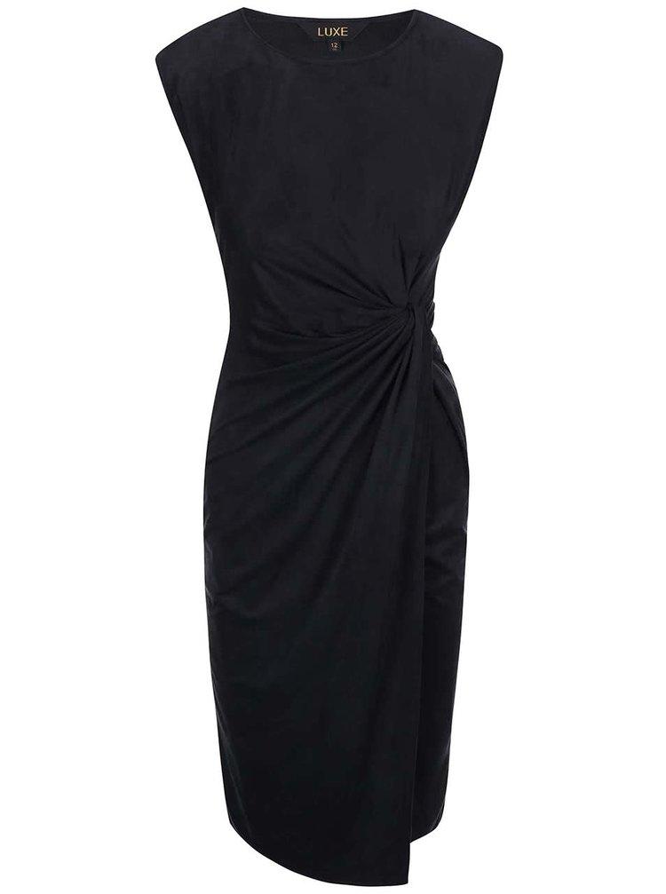 Čierne šaty s riasením a semišovou úpravou Dorothy Perkins