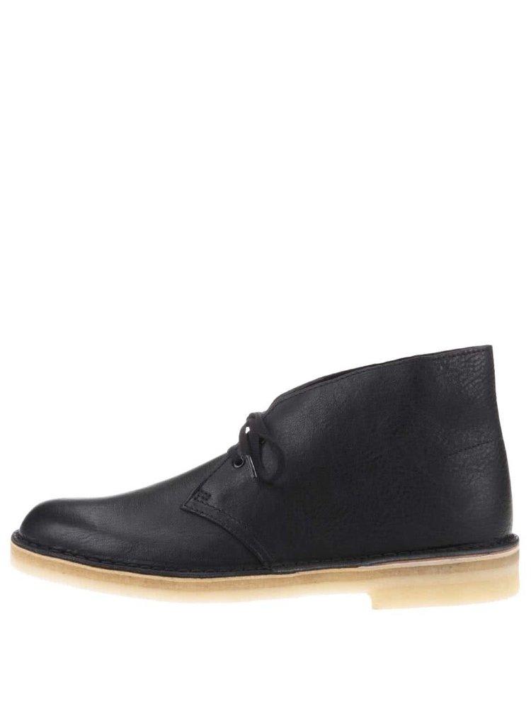 33d5a121998a ... Čierne pánske kožené členkové topánky Clarks Desert Boot