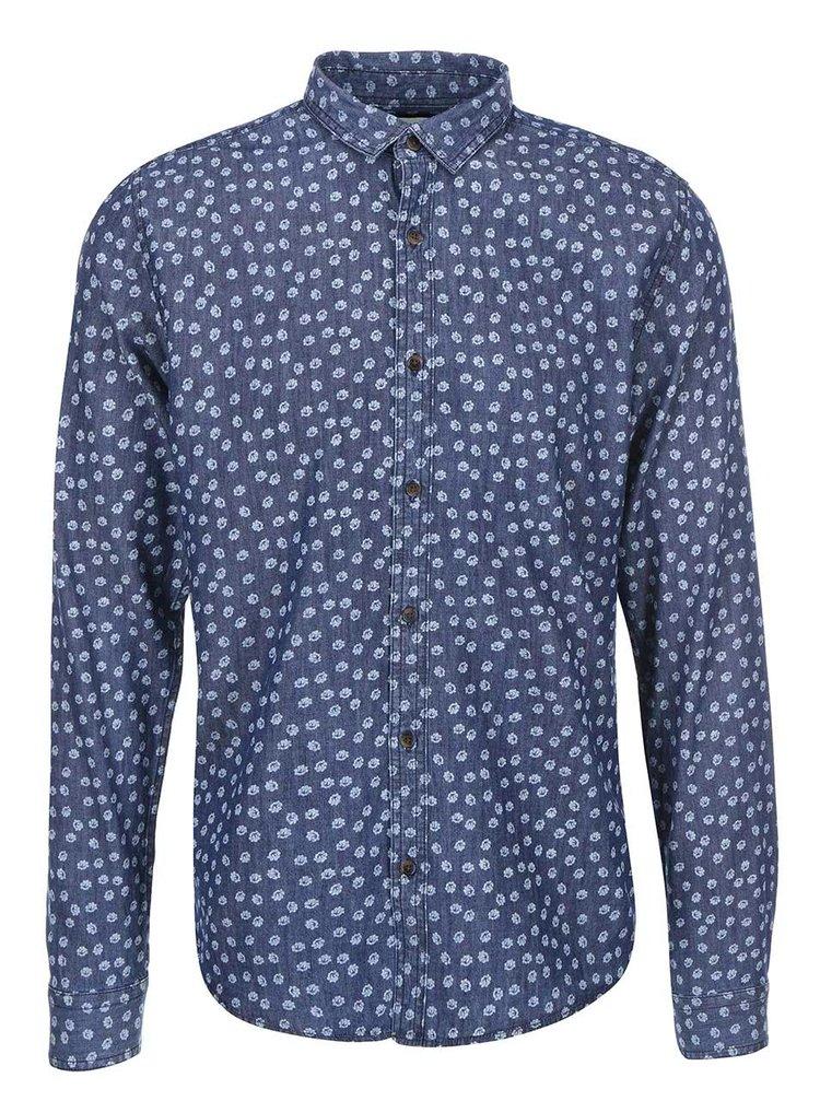 Bielo-modrá vzorovaná košeľa ONLY & SONS Adrian