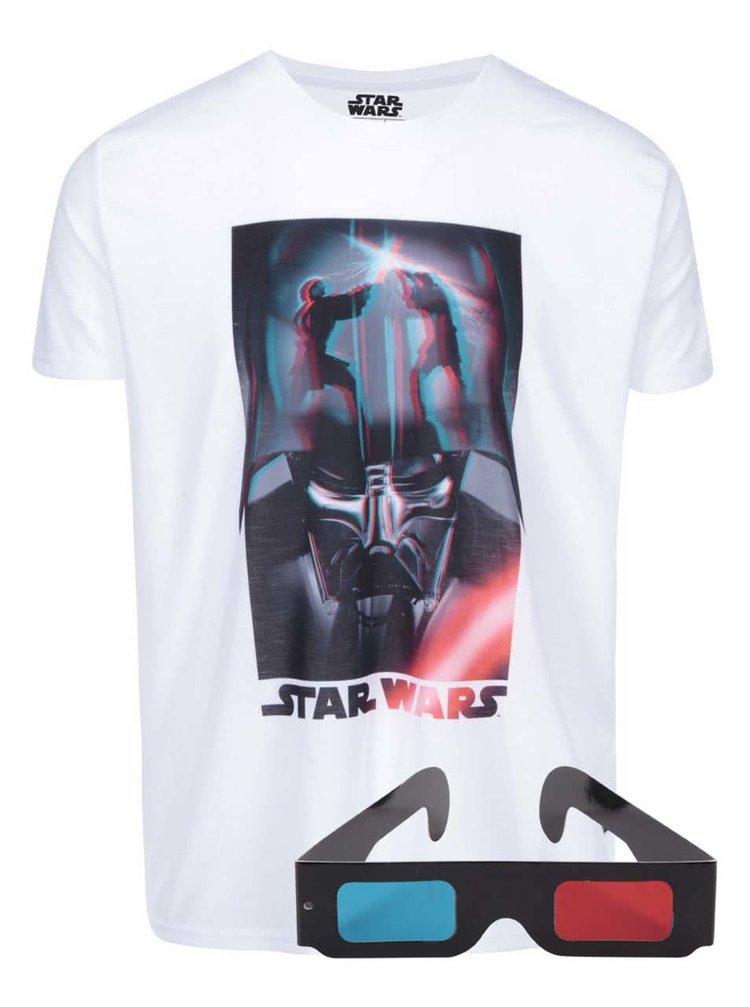 Biele tričko s 3D potlačou Darth Vader Freegun