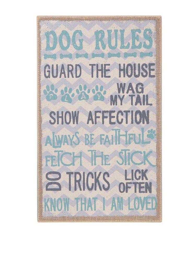 Dřevěná závěsná cedule v tyrkysové barvě Sass & Belle Dog Rules
