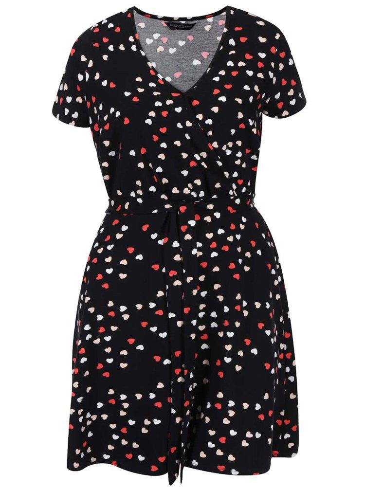 Čierne prekladané šaty so srdiečkami Dorothy Perkins Curve