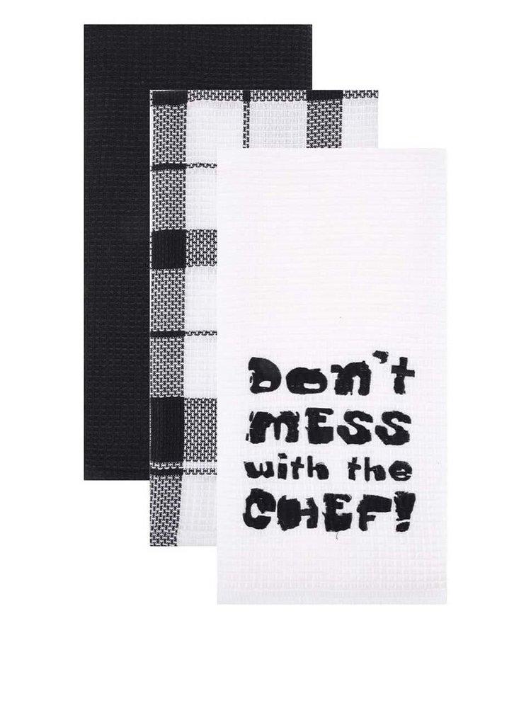 Sada tří utěrek v černé a bílé barvě Cooksmart Don´t Mess With The Chef!