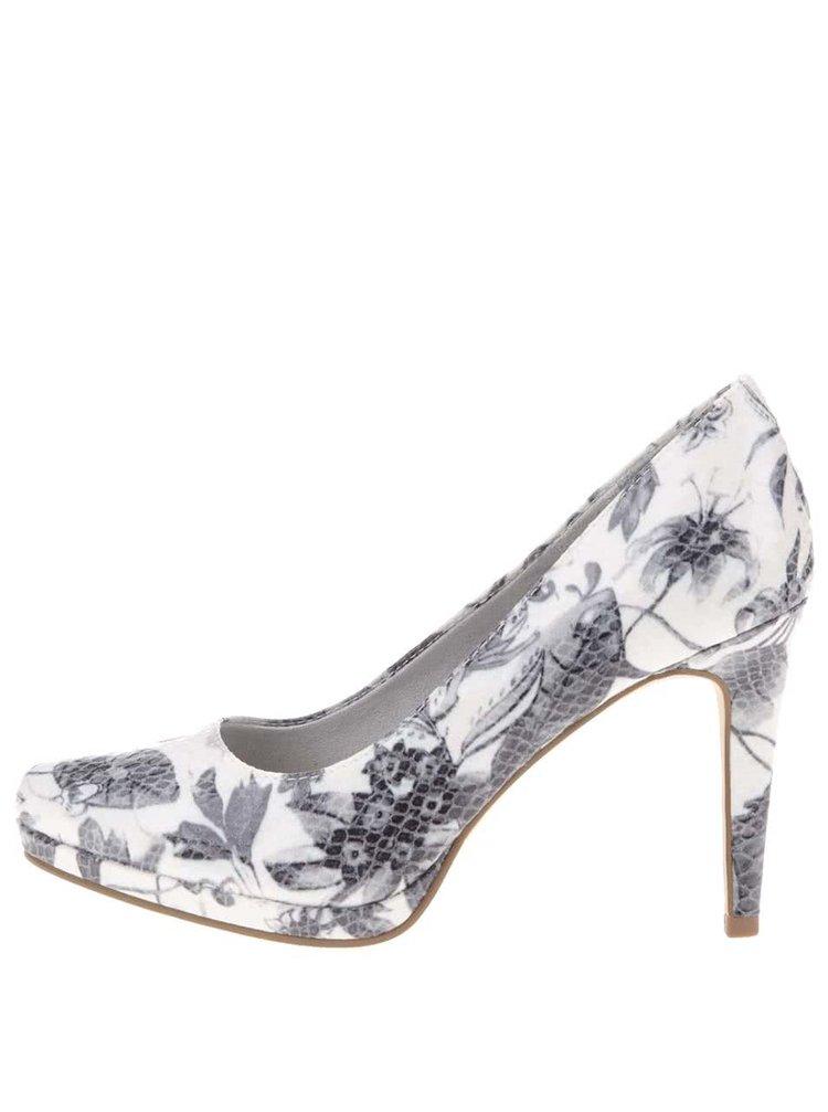 Pantofi cu toc crem cu imprimeu floral Tamaris