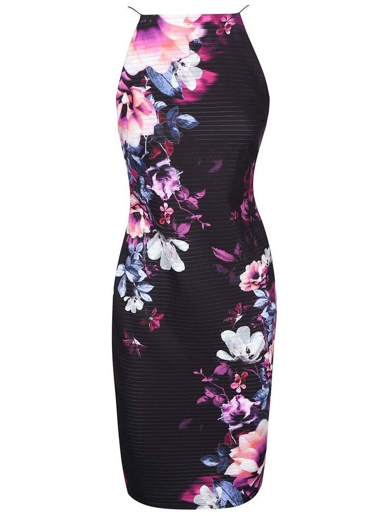 Černé šaty na elastická ramínka s fialovými květy Lipsy