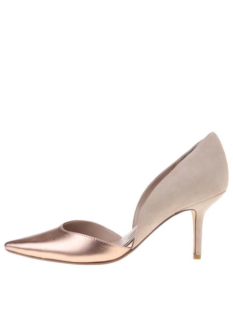 Pantofi cu toc din piele crem cu roz Dune London Cindee