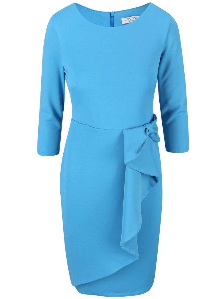 Rochie albastră cu fundă decorativă Goddiva