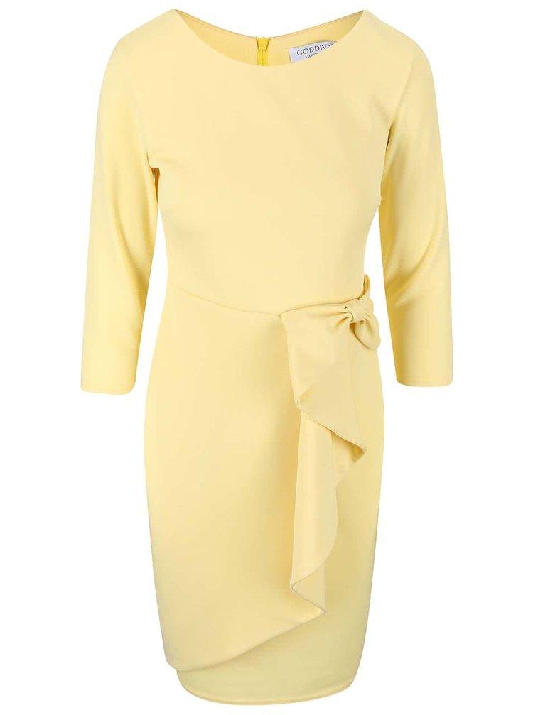 Světle žluté šaty s ozdobnou mašlí Goddiva
