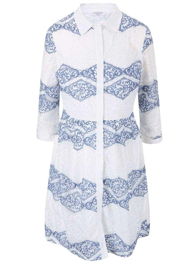 Modro-krémové krajkové košilové šaty Goddiva