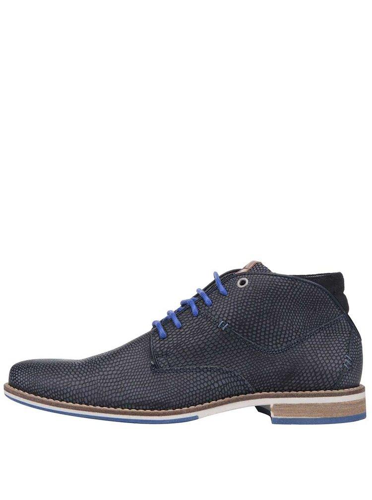 49ba2a934970c ... Tmavomodré pánske kožené topánky so vzorom hadej kože Bullboxer