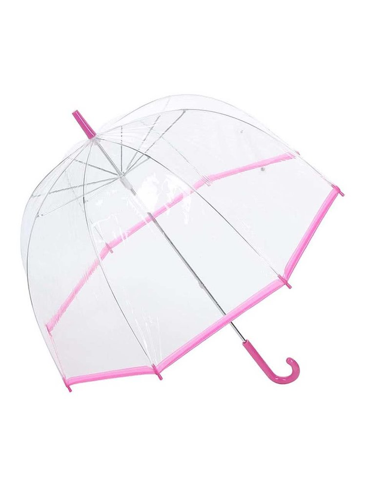 Průhledný deštník s růžovým lemem Lindy Lou SlimTrim