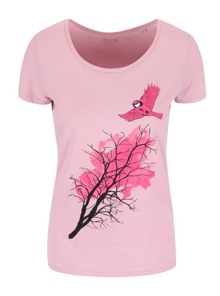 Růžové dámské tričko ZOOT Originál Sýkorka