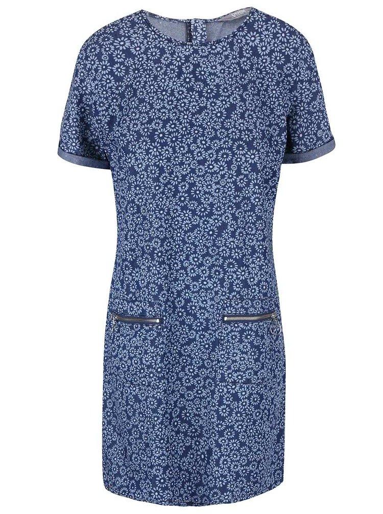 Rochie cu mânecă scurtă albastră cu imprimeu floral Dorothy Perkins
