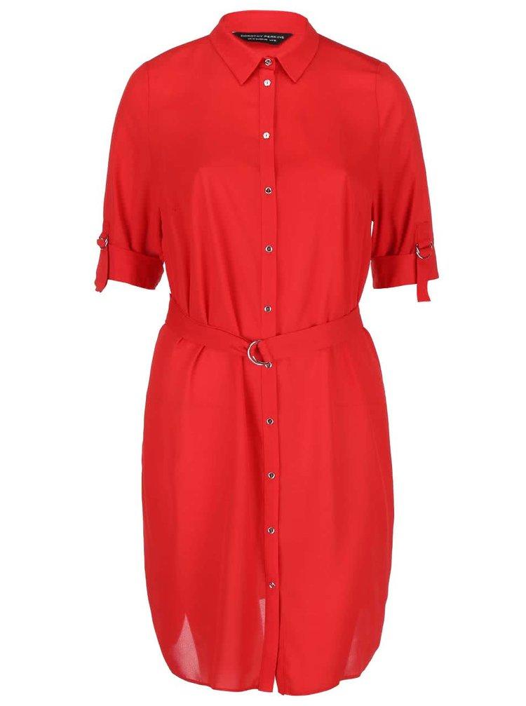 Rochie roșie tip cămașă Dorothy Perkins Curve