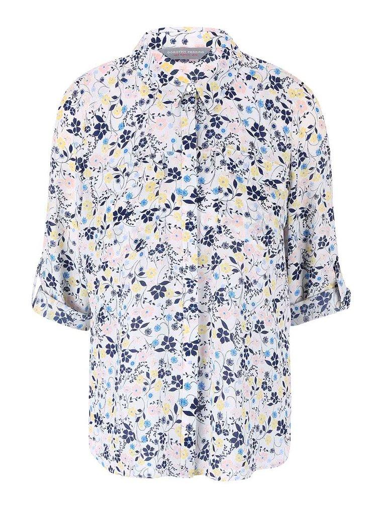 Biela kvetinová košeľa s 3/4 rukávmi Dorothy Perkins Petite