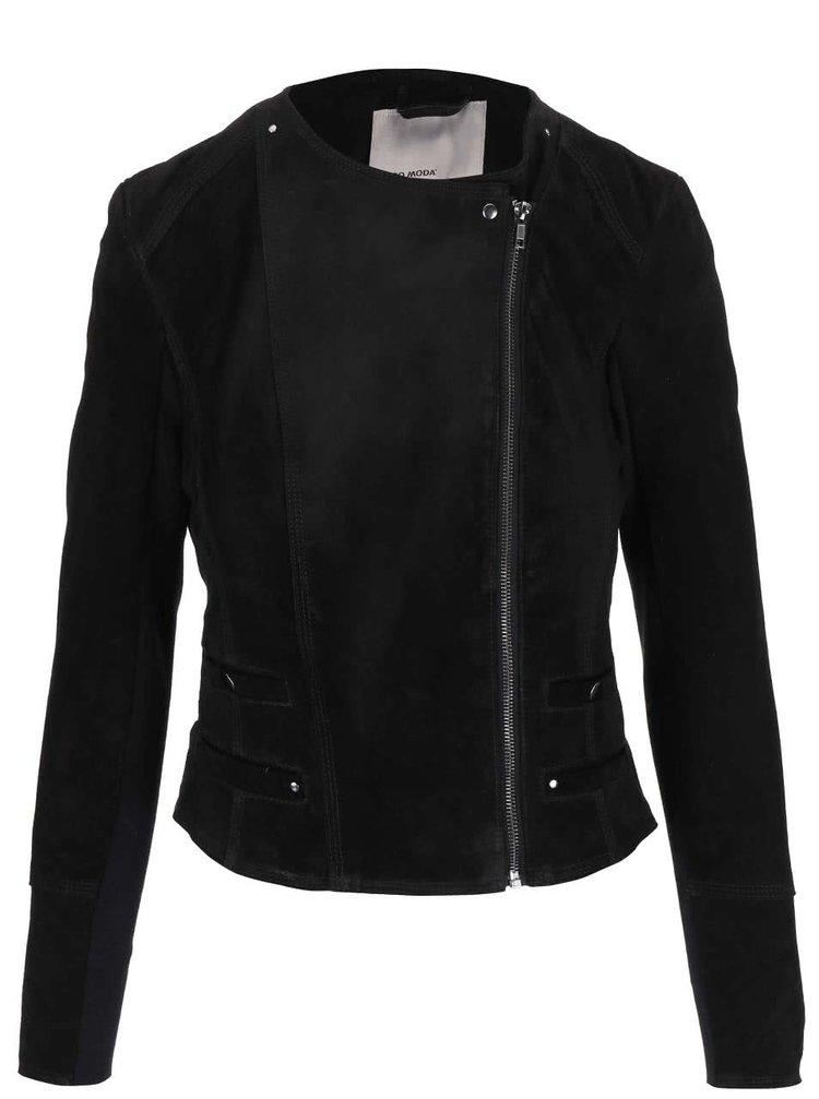 Jachetă neagră din piele VERO MODA Forever cu fermoar