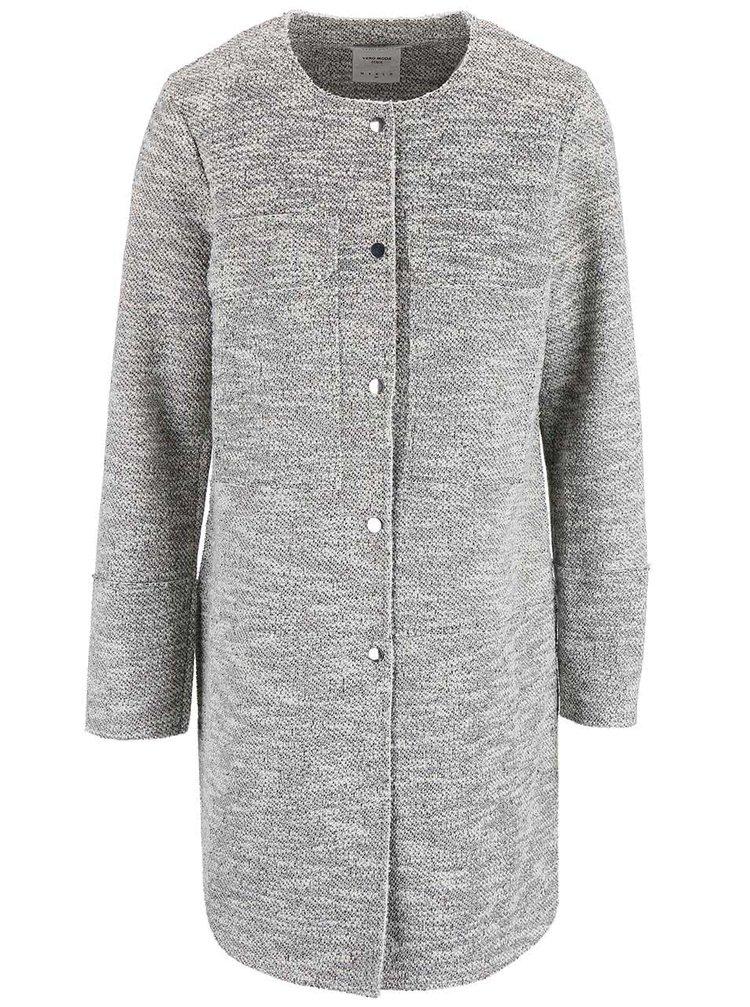 Šedo-bílý lehký kabát VERO MODA Elvi
