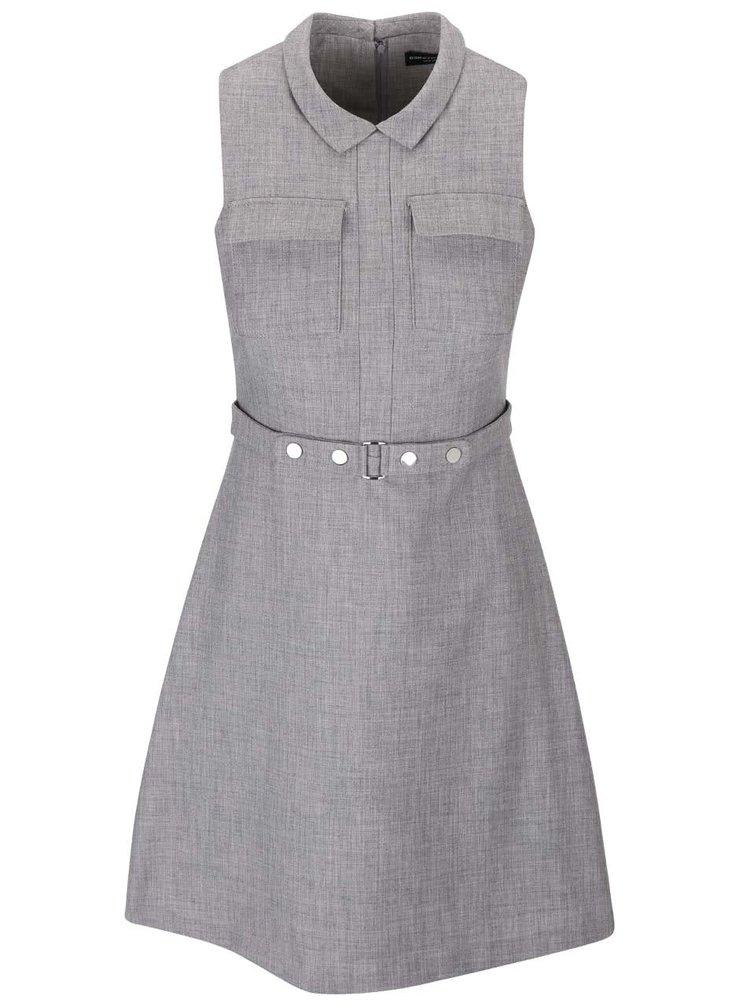 Sivé šaty s golierom Dorothy Perkins