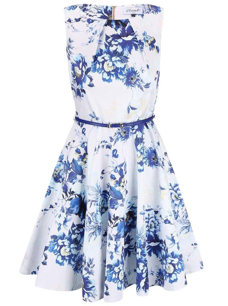 Modro-bílé květované šaty s páskem Closet