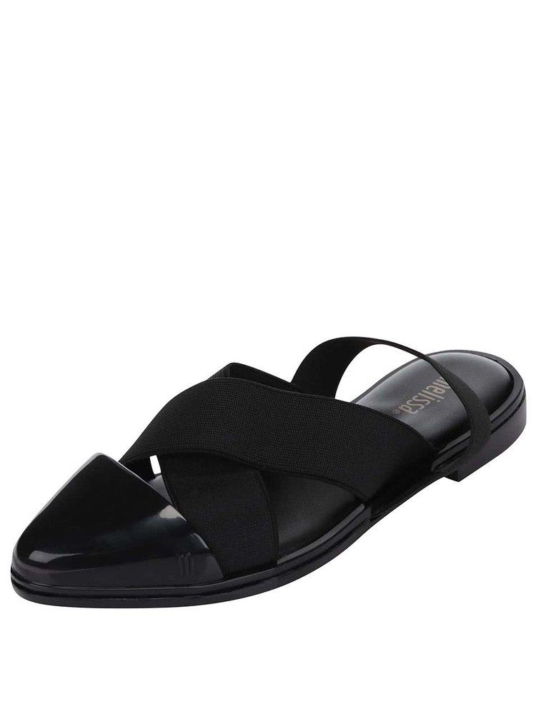 Sandale Melissa Good Vibes negre cu vârf ascuțit și talpă plată